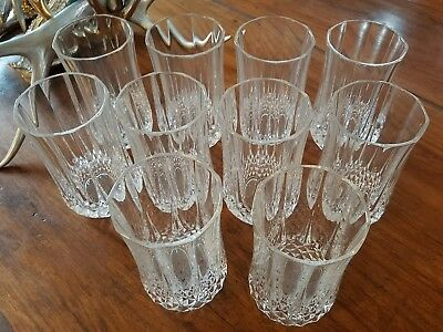 Set of 10 Longchamp Crystal Tumbler/Highball Glasses by Cristal d'Arques-Durand