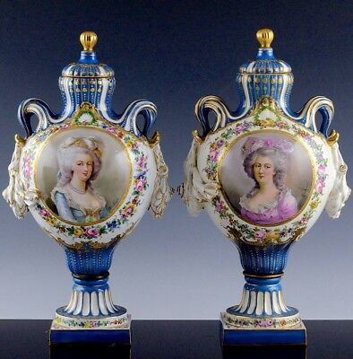 Superb Pair 1880 French Sevres Porcelain Bleu Celeste Jeweled Portrait Urn Vases