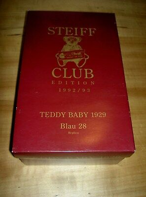 STEIFF Replica CLUB EDITION 1992/93 TEDDY BABY 1929 Blau 28 OVP & INFO 610.T.