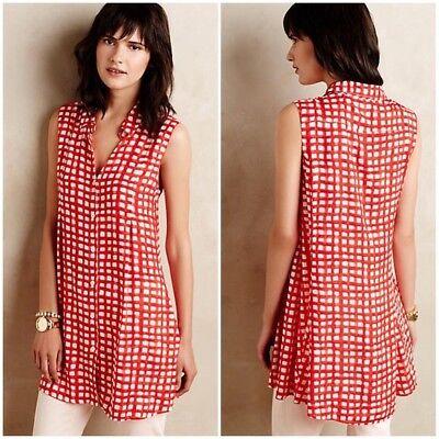 0d36c92db927 Anthropologie Tylho Red & White Checkered Percy Tunic Top or Mini Dress L  12 14
