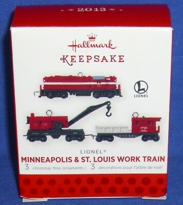 Hallmark Miniature Ornament Set Lionel Minneapolis & St Louis Work Train 2013 #1