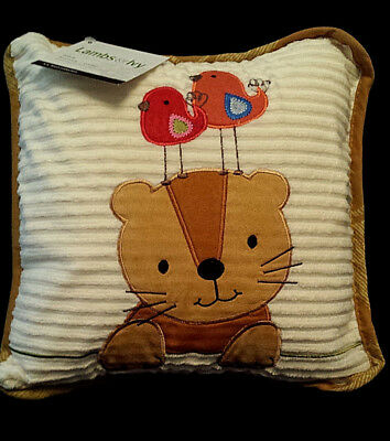 NEW/NWT-Lambs & and Ivy Nursery Pillow/S.S. Noah collection/Lion w/Birds/Baby