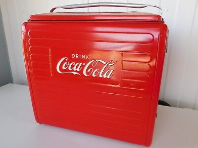 Vintage 1955 Coca Cola Picnic Cooler Tray St.thomas Metal Sign Ice Chest Ex Cond