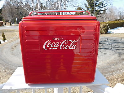 Vintage 1955 Coca Cola Canada Picnic Cooler W/tray St.thomas Metal Sign Restored