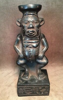 Rare HTF Bes Ancient Egyptian Dwarf God Demon Of Protection Black Sculpture
