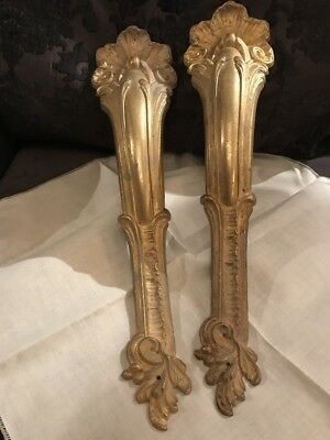 Antique French Brass Curtain Pole Holder Brackets Ormolu Rococo Gilt Old 1800's