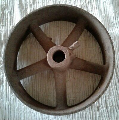 Vintage Cast Iron Metal Pulley Gear Wheel Industrial Steampunk Lamp Base 10""