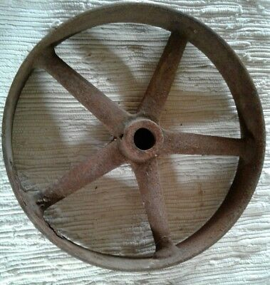 Vintage Cast Iron Metal Pulley Gear Wheel Industrial Steampunk Lamp Base 13""