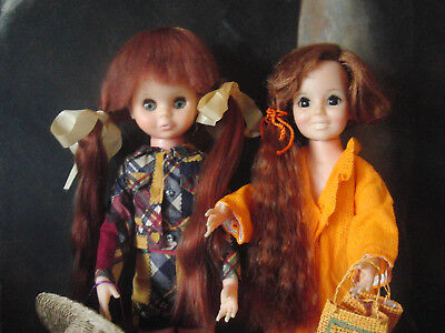 2 PUPPEN~ IDEAL CRISSY DOLL v. 1969  mit HAARWACHSFUNKTION ~ Original Outfit