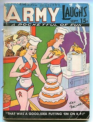 ARMY LAUGHS #6 (1942) - WORLD WAR II HUMOR DIGEST w/GAGS & GIRLS FOR THE BOYS!