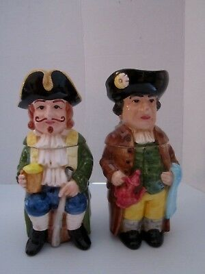 "Set of 2 vintage ceramic steins figural colonial man. Figures. Lidded. 10"" tall."