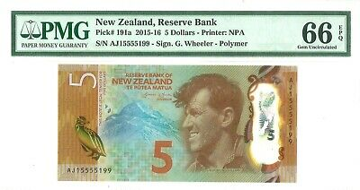 MONEY NEW ZEALAND 5 DOLLARS 2015 RESERVE BANK PMG SUPERB GEM UNC PICK #191a