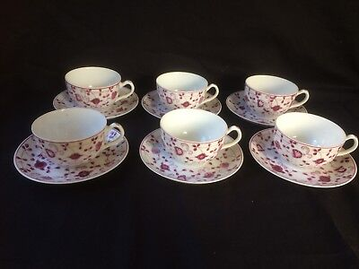 "AW, August Warnecke "" CHINA purpur ""  6 x Tasse mit untertasse"