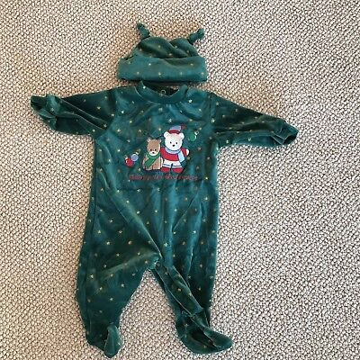 Simply Basic baby infant holiday outfit footie bear 1st Christmas green 0-3
