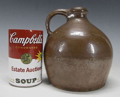 19th c Primitive American Folk Art Antique Small Manganese Glaze Redware Jug yqz
