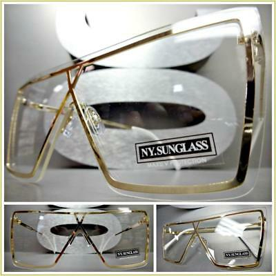 New OVERSIZED VINTAGE RETRO SHIELD Style Clear Lens EYE GLASSES Large Gold Frame