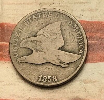 1858 1C Flying Eagle Penny Cent Vintage US Copper Coin #HS188 Nice Looker