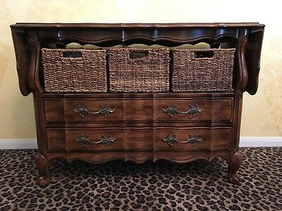 MUST SELL THOMASVILLE Buffet SERVER French DROP LEAF Sideboard CART Bar TV Stand