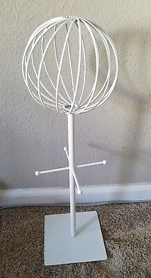 Tabletop White Metal Wire Hat/Wig Stand Hats/Wigs Display Ball With 4 Pegs