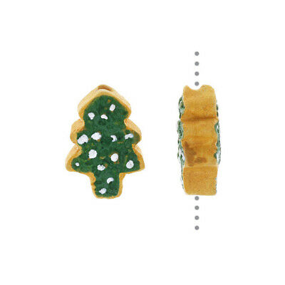 Hand Painted Ceramic Bead, Tiny Christmas Tree Cookie 13.5x9.5mm, 2 Pcs, Green