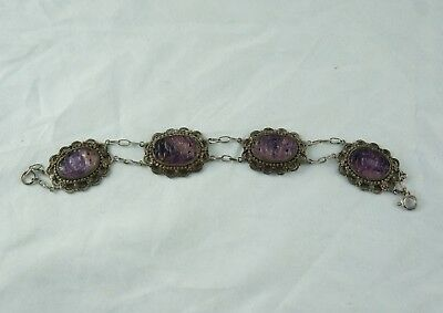 Vintage Chinese Export Silver bracelet - Carved Amethyst, Filigree, Signed