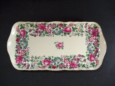 """Crown Staffordshire """"thousand Flowers"""" #7117, Oblong Dresser Tray 12-1/2"""""""