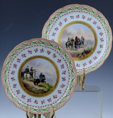 SUPERB QUAL PAIRc1850 BAILEY BANKS & BIDDLE MILITARY HORSE SCENIC SERVING DISHES