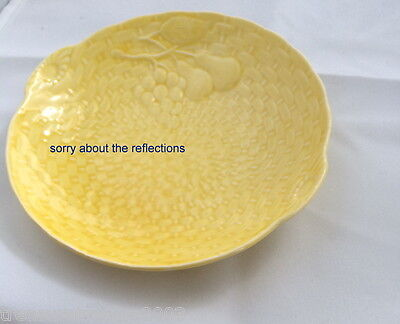 🌟 Yellow Small Serving Dish Plate Grapes Pears Basketweave Shorter & Son