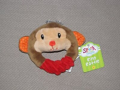 Spark Create Imagine Monkey Stuffed Plush Baby Toy Ring Chime Rattle New Nwt Red