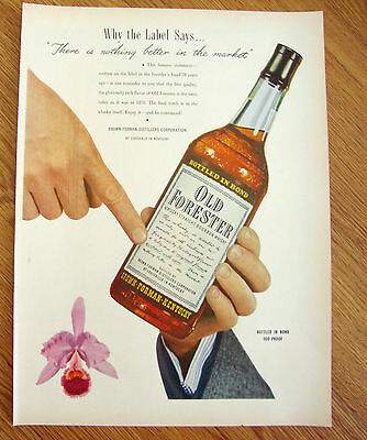 1948 Old Forester Whiskey Ad  Why the Label Says