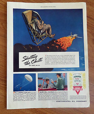 1950 Conoco Continental Oil Company Ad Bailing Out U. S. Navy Fighter Theme