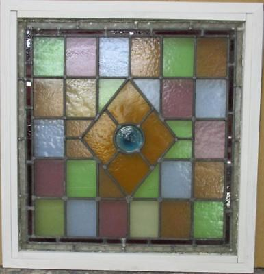 """MID SIZE OLD ENGLISH LEADED STAINED GLASS WINDOW Beautiful Geo 25.25"""" x 26.25"""""""