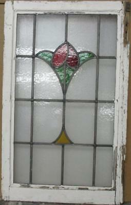 "LARGE OLD ENGLISH LEADED STAINED GLASS WINDOW Simple Floral 20"" x 32.25"""