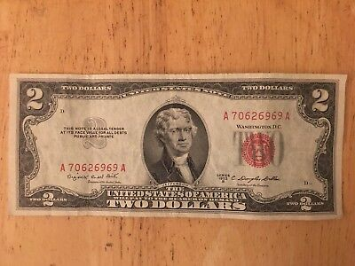 1953B Series United States Note Red Seal $2 Two Dollar Bill