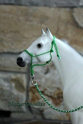 Model horse rope halter and lead rope-Traditional(1:9) size-Lucky Green
