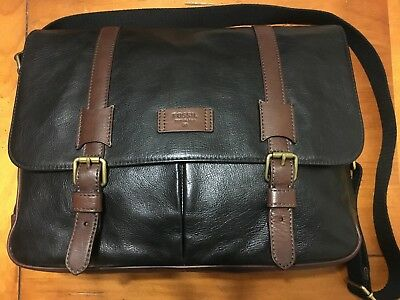 """Fossil 16""""L x 4""""W x 12""""H Leather Messenger Bag - Black with dark brown straps"""