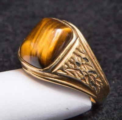 Vintage 18K Gold Plated Costume Jewelry Mens Ring Size 10-3/4 tob