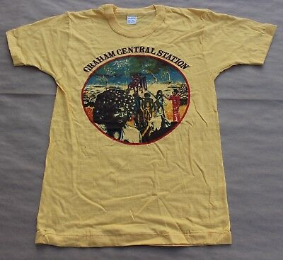 Rare Vintage Larry Graham Central Station Album Cover T-Shirt Yellow M Medium