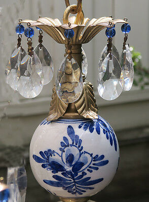 Vintage Beaded porcelain GZhel  tole Brass hanging lamp Delft Blue light fixture
