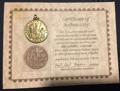 1808 East India Company copper 10 X CASH Nice Details - with COA Scarce