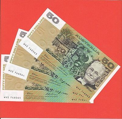 A consecutive run of 3  UNC Australian $50 notes