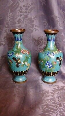 Pair Antique Chinese Cloisonne Baluster  Shape Butterflies&Flowers Vases