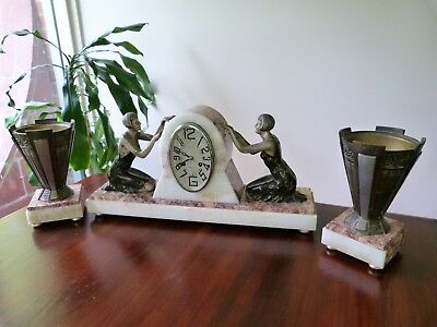 French Marble Clock .. Art Deco .. 1920's - 30's .. Working .. Home Decor