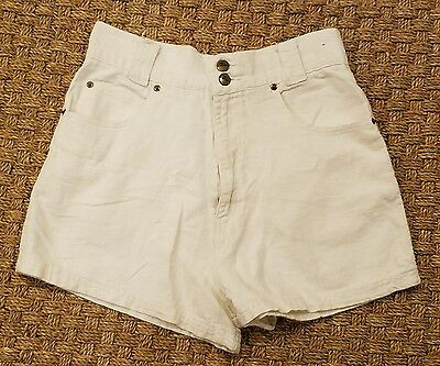 "80s CHAZZ high waist shorts 28"" white cotton+linen bermuda walking vintage sz 11"