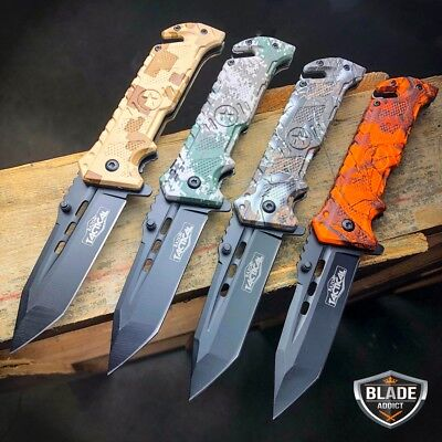 """8"""" Military Tactical Spring Assisted Rescue Hunting Pocket OPEN Folding Knife"""