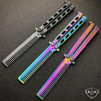 High Quality Practice BALISONG METAL Comb BUTTERFLY Trainer Brush Knife Blade