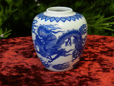 Blue and White Dragon Decorative Jar