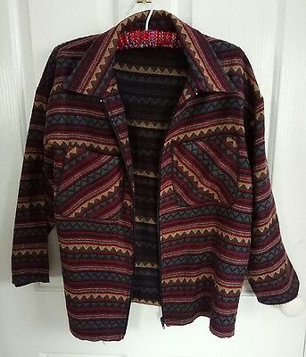 Vintage Aztec Hippie Red Tan Maroon Boho Patterned Jacket Size L FREE POSTAGE