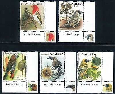 "Namibia 2008 ""Birds"" set of (5) x corner stamps (SG 1091 - 1095) (**)"