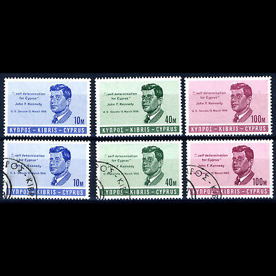 CYPRUS 1965 Kennedy. SG  256-258. Mint Never Hinged & Fine Used. (AF056)